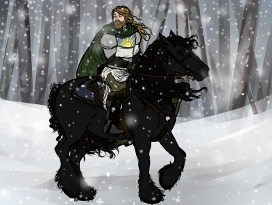 Heinrich, Knight of the Dawn, an ally of the party, on his horse, Rittelichkeit