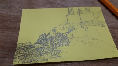 Drawn for my roleplaying group, this is meant to be the city of Ornum, built across the river from a great fortress known as the Wyrmwatch.